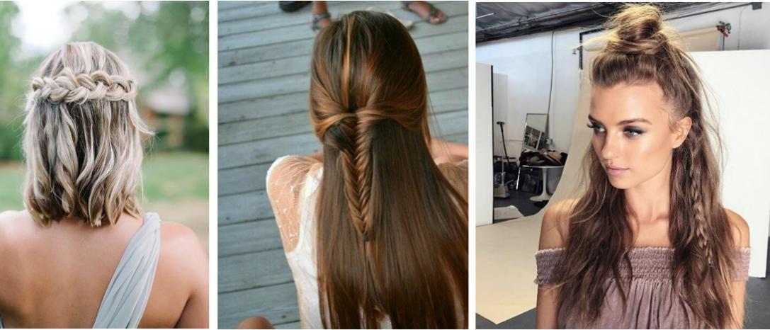 3 peinados en media coleta con trenza
