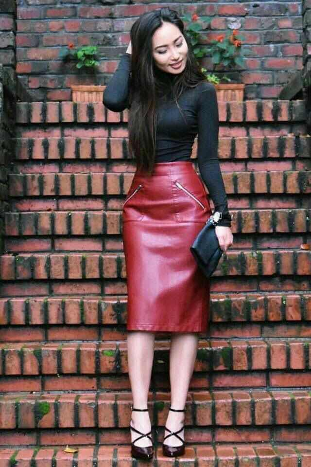 Outfits con Falda de Cuero