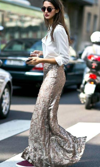 metallic falda larga