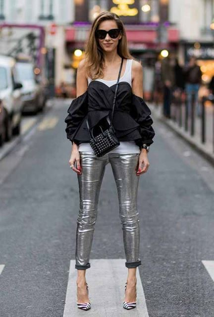metallic slim pants