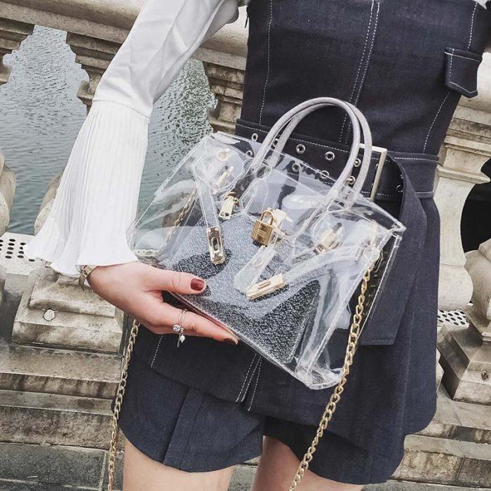 Resultado de imagen para transparent bag street style