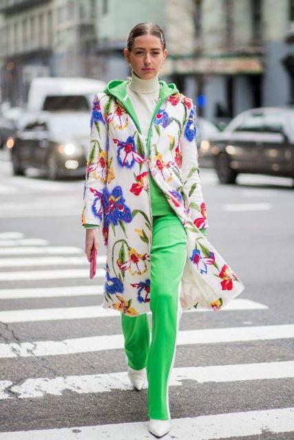 tracksuit verde abrigo flores