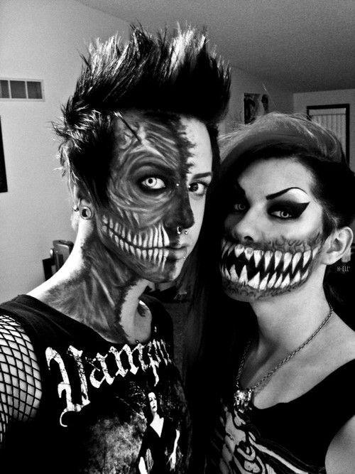esqueleto punk disfraz pareja