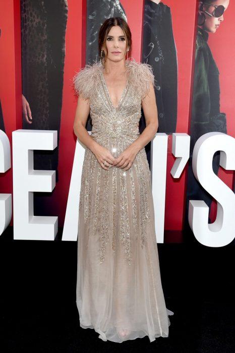mujer con cabello castaño y vestido plateado con plumas
