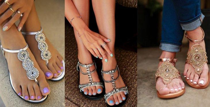 Sandalias con pedrería