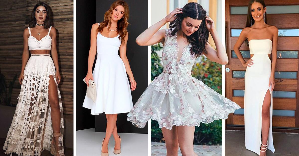 15 Lindos vestidos blancos que puedes usar en tu graduación
