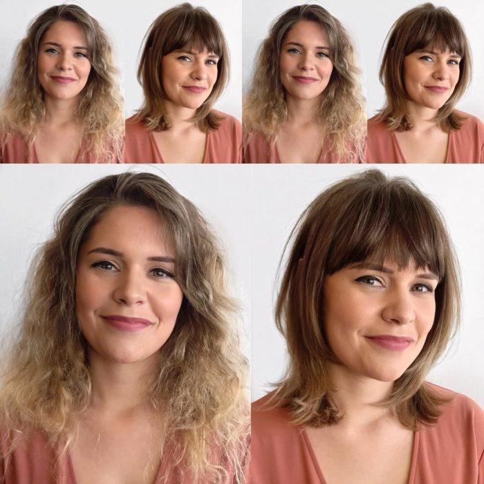 Cambio de estilo de cabello de una mujer, de corto y rizado a liso y con flequillo