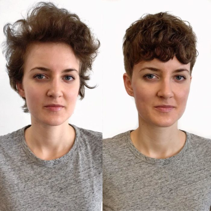 Cambio de look de una mujer de corto despeinado a pixi con rizos