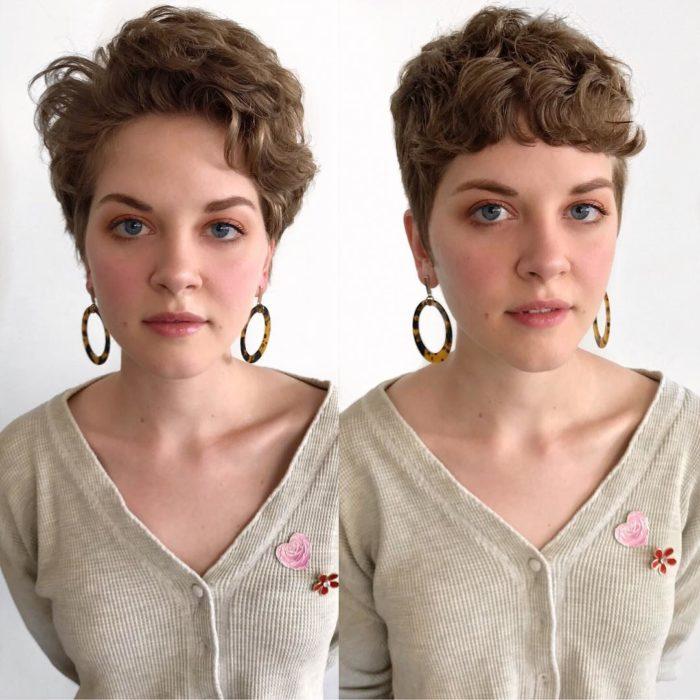 Cambio de estilo de cabello de una mujer; de corto a pixi con flequillo