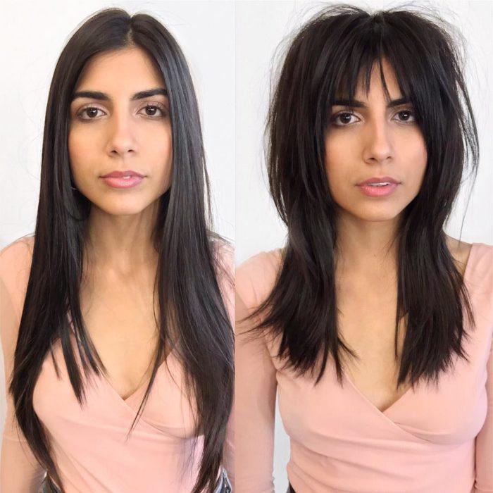 Cambio de look de una chica, con corte de largo a midi con flequillo