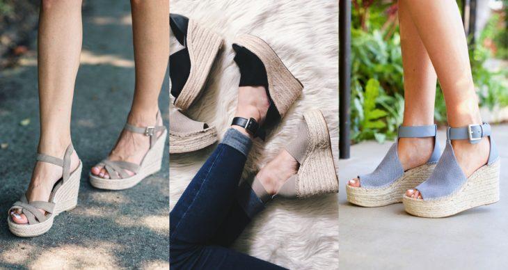 Wedges, sandalias perfectas para el calor, primavera o verano, zapatos de tacón seguido clásicos beige y negros con suela tejida y de corcho