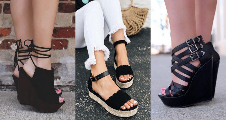 Wedges, sandalias perfectas para el calor, primavera o verano, zapatos de tacón seguido de madera o tejido, con correa y cintas