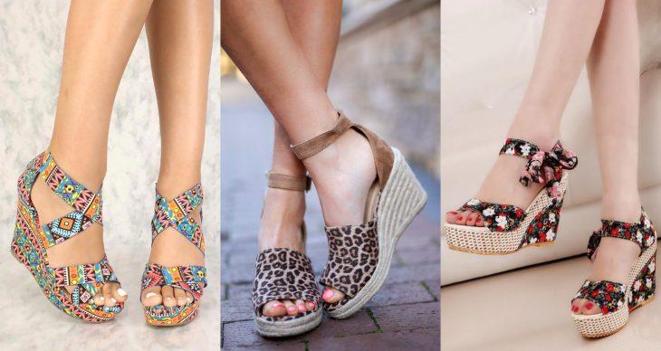 Wedges, sandalias perfectas para el calor, primavera o verano, zapatos de tacón seguido altos, de animal print, floreados y estilo huichol