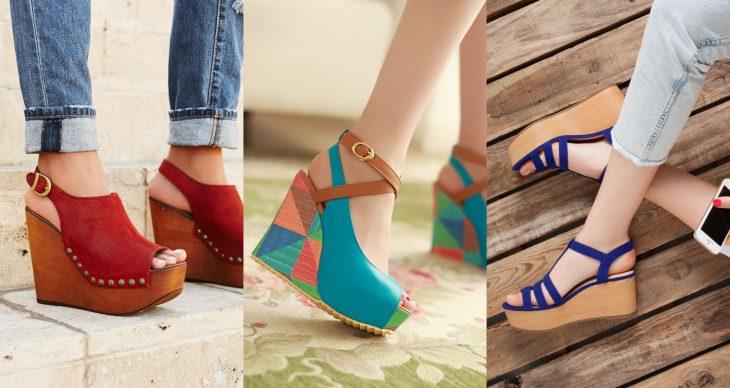 Wedges, sandalias perfectas para el calor, primavera o verano, zapatos de tacón alto seguido de colores rojo, azul cielo y azul rey con estoperoles y suela de madera café