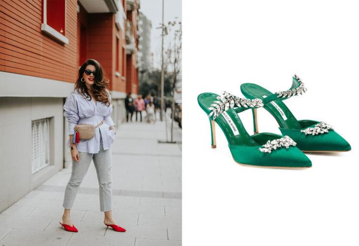 Chica usando unos zapatos mules de tacón bajo y otros zapatos de color verde de manolo blanik en color verde con aplicaciones de pedrería