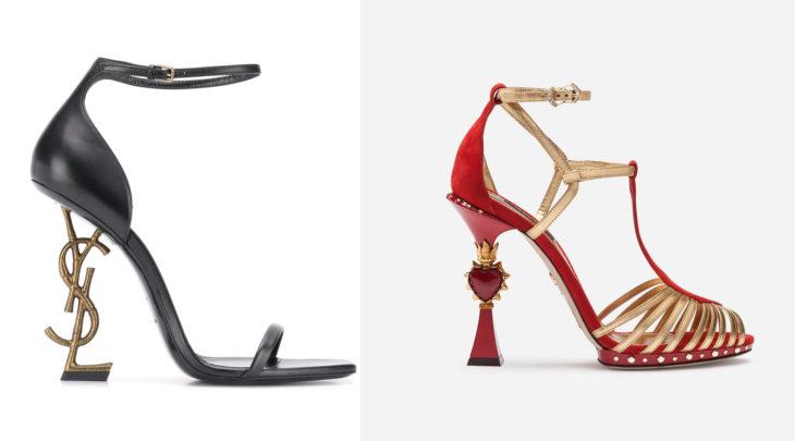 Zapatos Yves Saint Laurent con las iniciales en el tacón. A la derecha, zapatos rojos con un corazón en el tacón