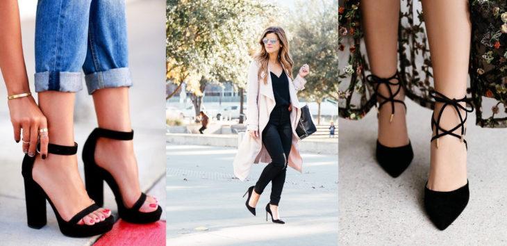 Diferentes estilos de zapatos en color negro, con plataforma, stilettos y de correas