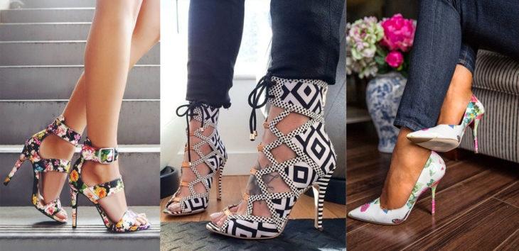 Diferentes estilos de zapatos estampados con flores o aztec print