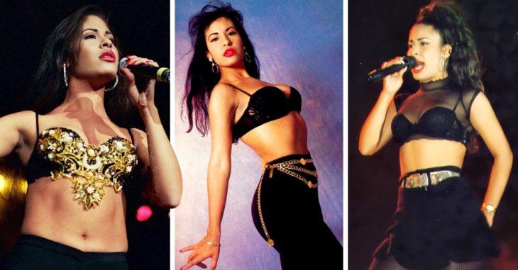 Selena Quintanilla en concierto modelando sus atuendos más emblemático