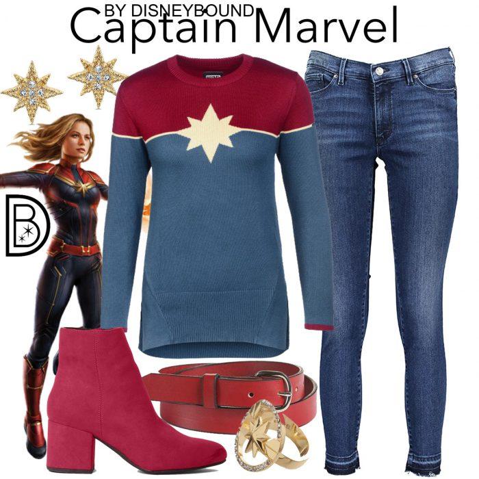 Outfits inspirados en Captain Marvel Disney, suéter de Captain Marvel, pantalón de mezclilla, cinto y botas rojas
