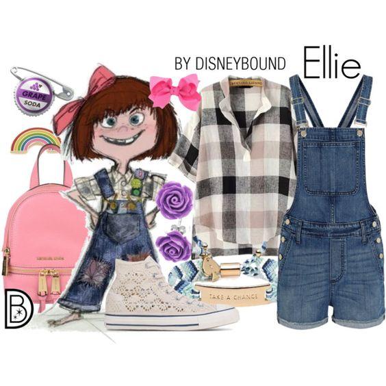 Outfits inspirados en Ellie de Disney, overol de mezclilla, tenis blancos de encaje, mochila rosa y camisa a cuadros beige rosa y negro