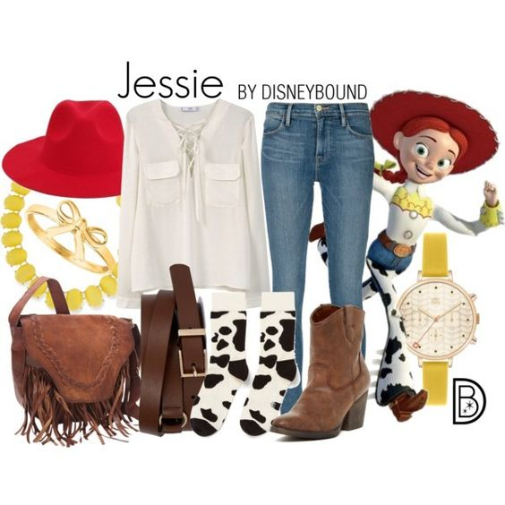 Outfits inspirados en Jessie de Toy Story Disney, bolsa, cinto y botines café, pantalón de mezclilla, reloj amarillo, blusa blanca y sombrero rojo