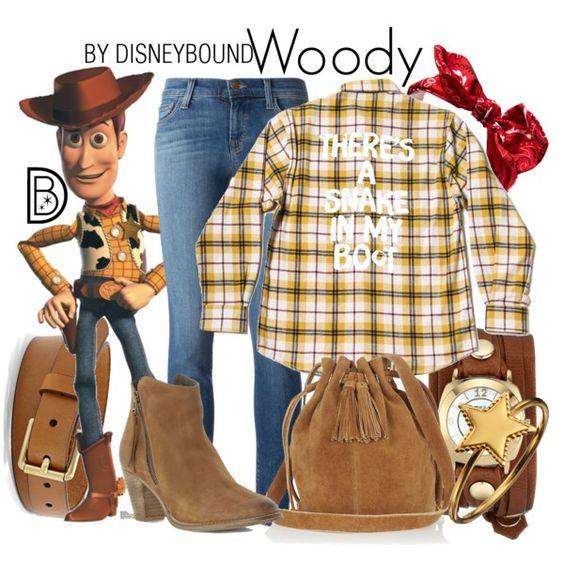 Outfits inspirados en Woody de Toy Story Disney, botines y bolsa de gamuza, cinto café, pantalón de mezclilla y camisa a cuadros amarilla