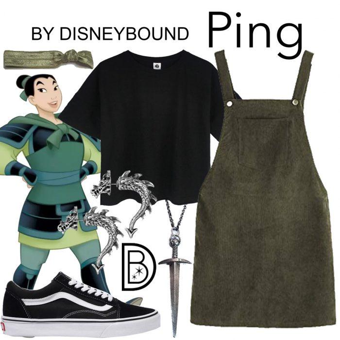 Outfits inspirados en Mulan de Disney, vestido corto verde oscuro, playera negra, bandana verde y tenis negros