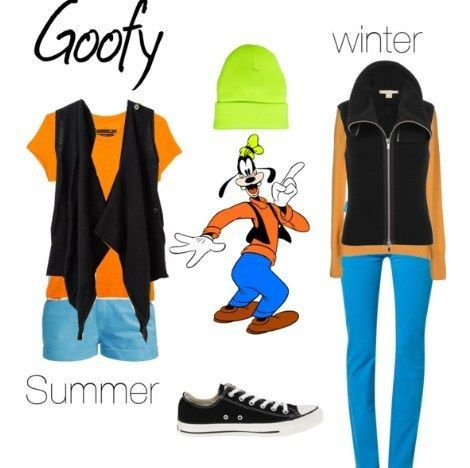 Outfits inspirados en Goofy Disney, playera naranja, pantalón y short azules, tenis negros y chaleco negro