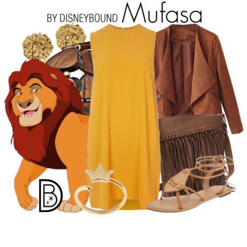 Outfits inspirados en Mufasa de El Rey León de Disney, vestido amarillo, chaqueta café, sandalias color piel