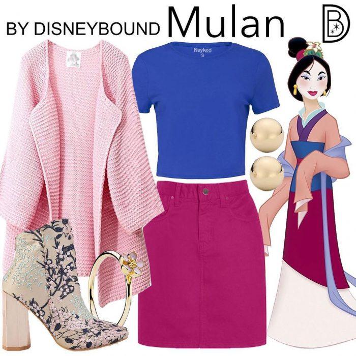 Outfits inspirados en Mulan de Disney, suéter rosa, camiseta azul, falda rosa, botas estampado de flores