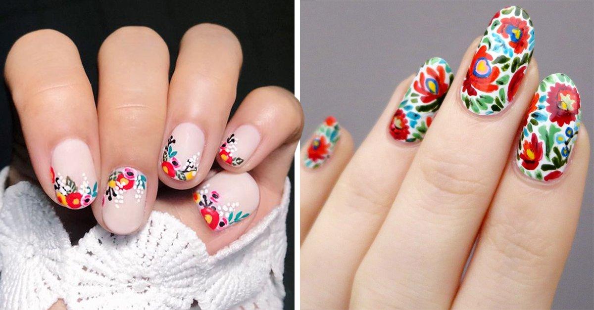 15 Diseños para uñas en efecto bordados para tus uñas