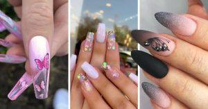 15 Diseños de uñas de mariposa que te van a encantar mucho