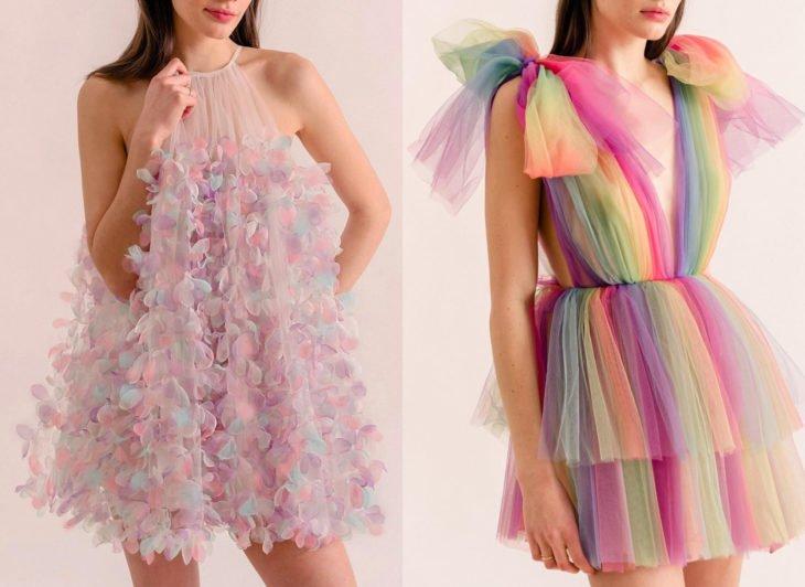 Ropa femenina de Lirika Matoshi; vestidos delicados de pétalos de flores y de gasa de arcoíris