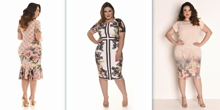 tres vestidos floreados ajustados para chicas curvy