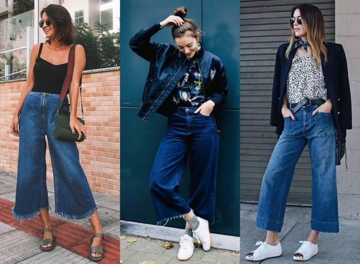 Tipos de pantalones para mujer; culotte jeans