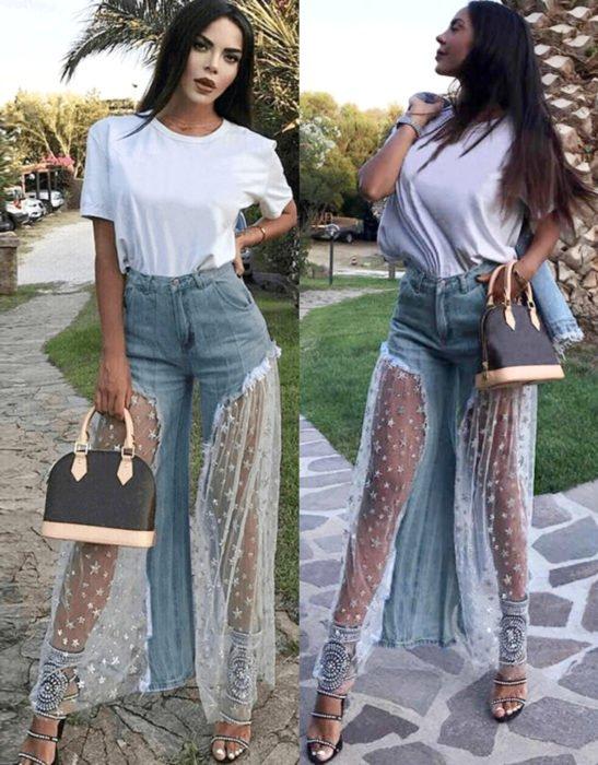 Jeans con tulle con estampado de estrellas