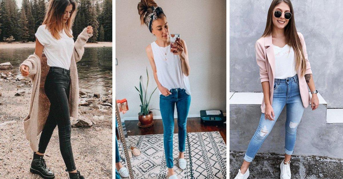 Looks con skinny jeans para vestirte cómoda al estar en casa
