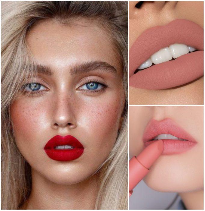 Labios de mujeres pintados rojos, nude y rosa