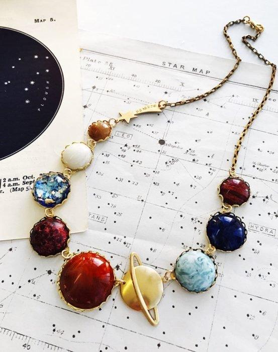 Collar inspirado en el universo con dijes que representan al sistema solar y con cadena dorada