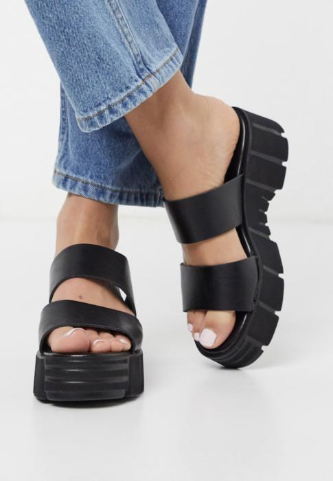 Sandalias negras estilo chunky