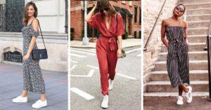 15 Ideas para usar tus jumpsuits con unos sneakers blancos