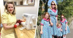 Lee más sobre el artículo Mujer hace vestidos de los años 50 usando retazos de tela