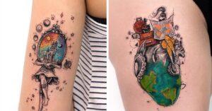 Lee más sobre el artículo 14 Tatuajes para llenarte de fuerza con un toque de color