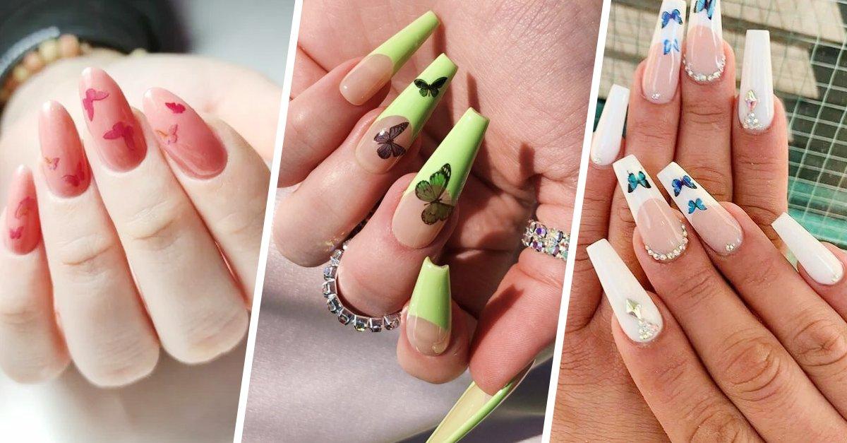 En este momento estás viendo 20 Diseños para tus uñas con decoraciones de mariposas