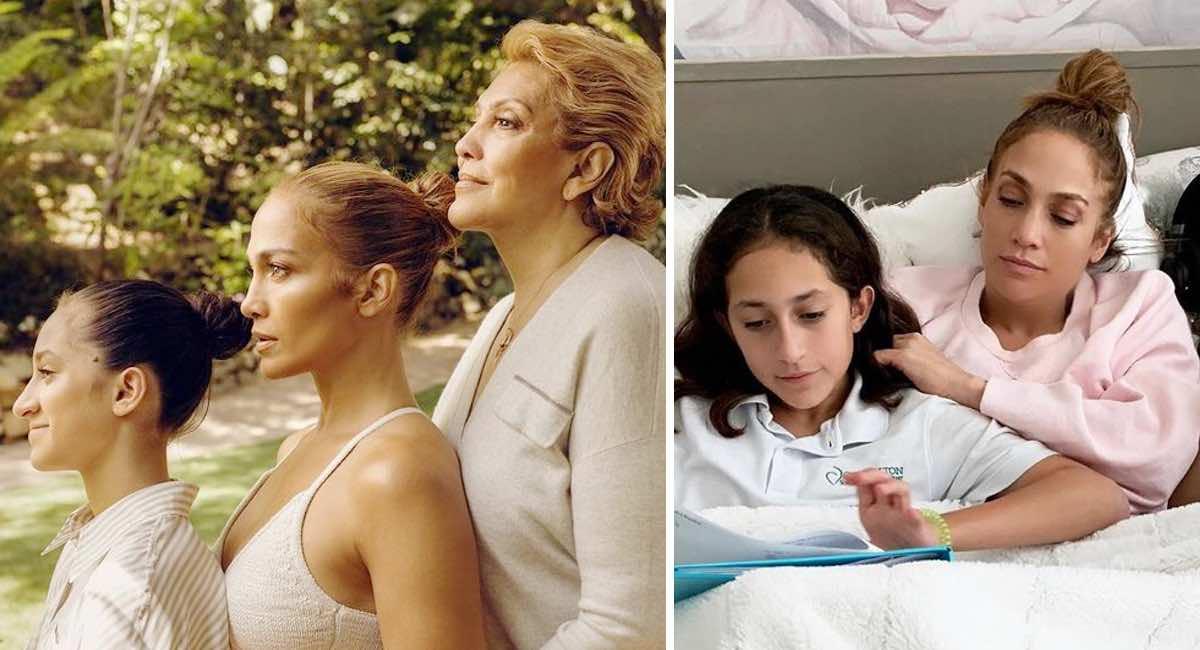En este momento estás viendo Jennifer Lopez pubblica una foto con la figlia e la madre e i fan si lanciano sulla piccola Emme
